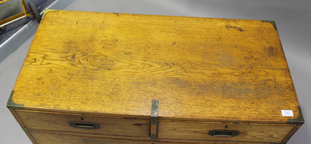 A late 19th century oak and brass bound campaign chest of two short and three long drawers, height - Image 6 of 7