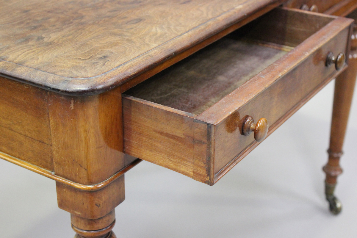 A Victorian mahogany side table, fitted with two frieze drawers, on turned legs, height 80cm, - Image 6 of 7