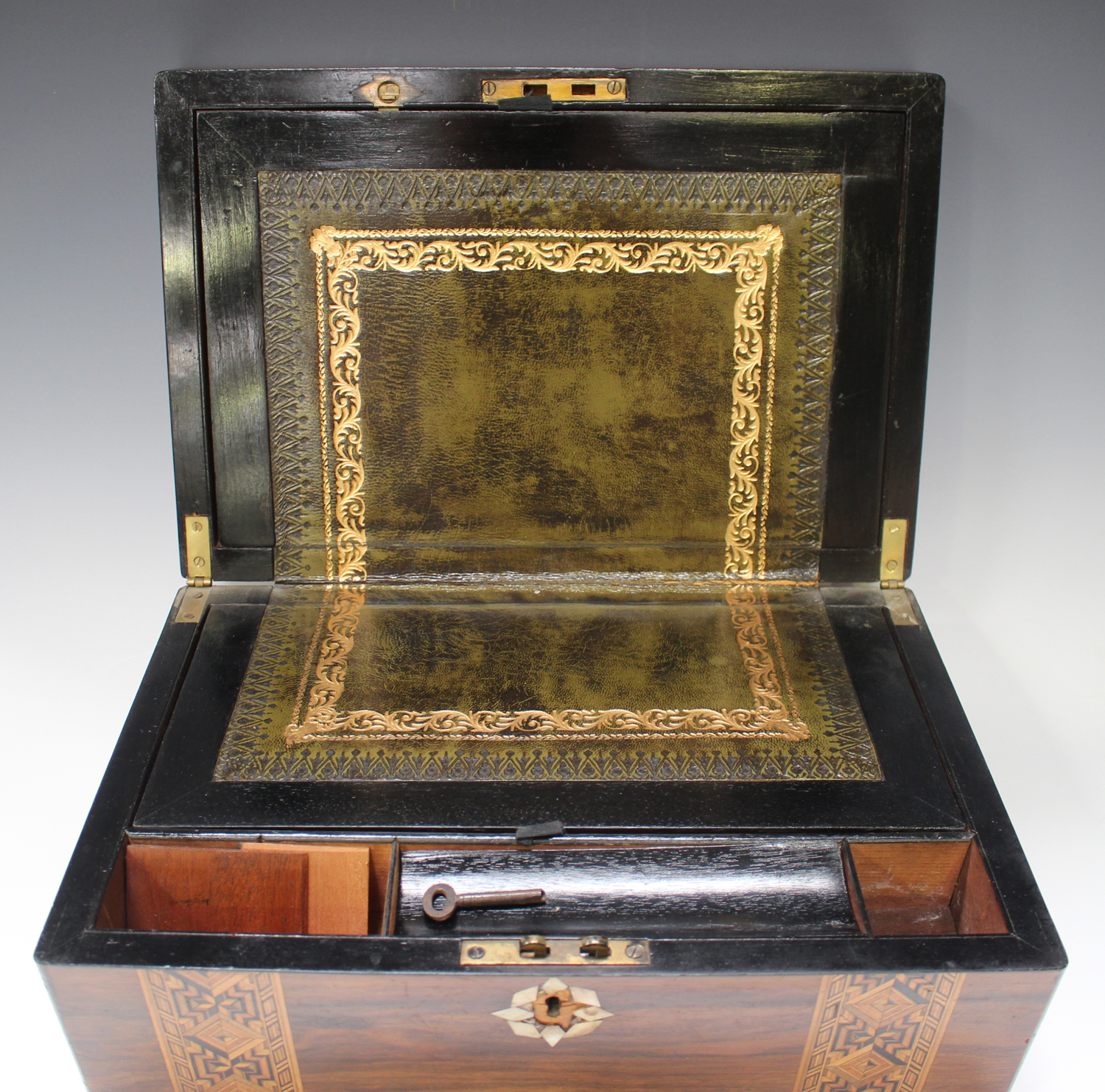 A late Victorian walnut writing slope inlaid with geometric bands, width 35cm.Buyer's Premium 29. - Image 8 of 8