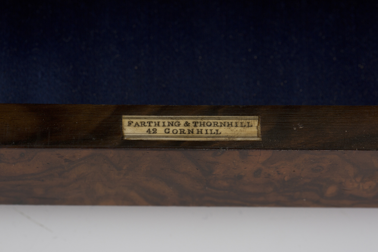 A mid-Victorian burr walnut jewellery box by Farthing & Thornhill, 42 Cornhill, the hinged lid - Image 3 of 5