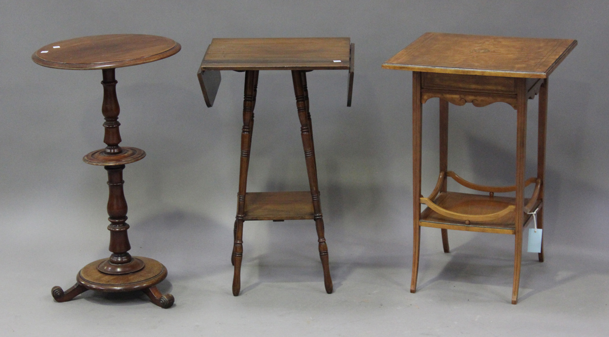An Edwardian satinwood two-tier square occasional table with foliate inlaid decoration, height 64cm,