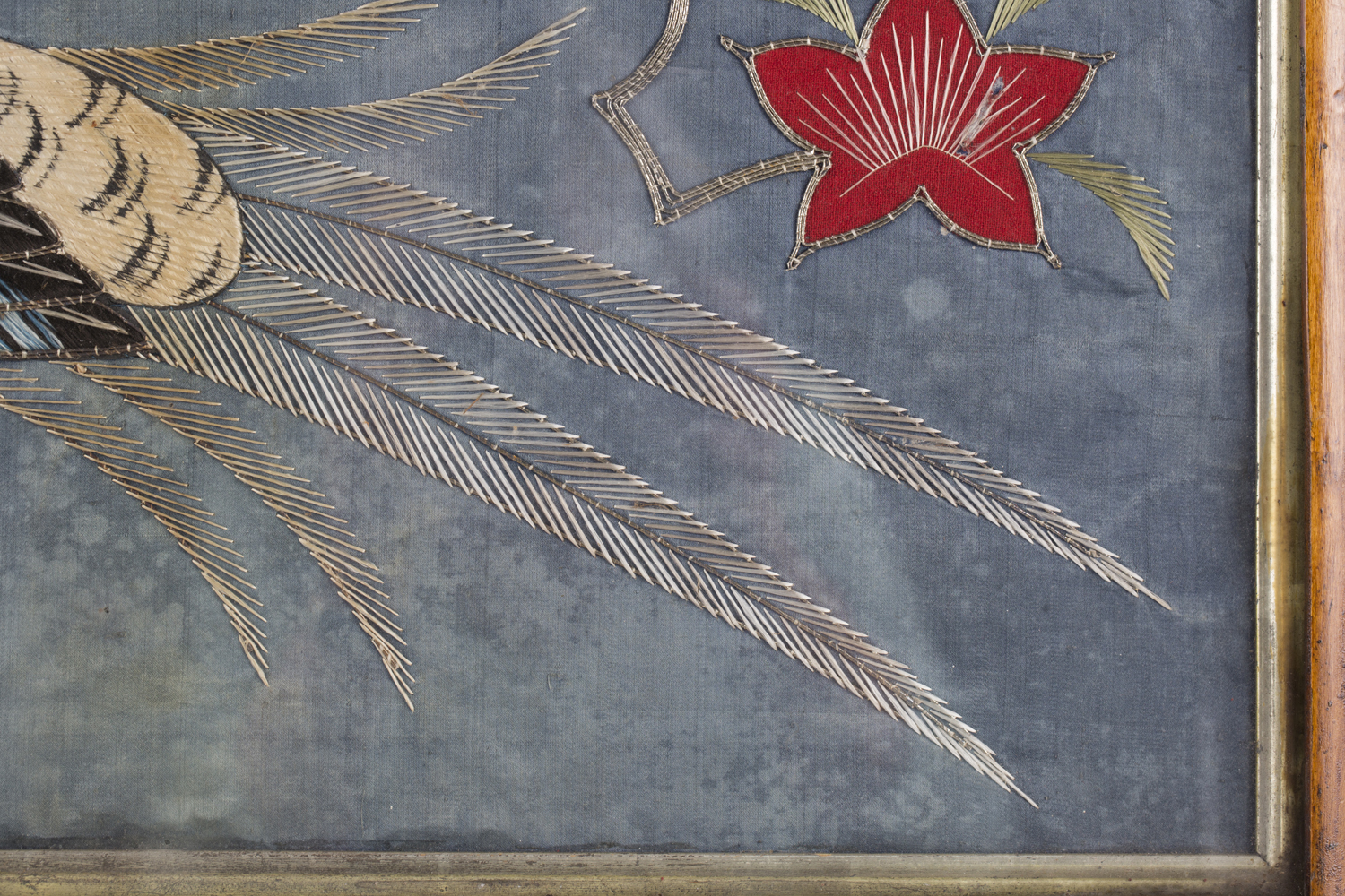 A near pair of late 19th century Japanese silk and metal thread stumpwork panels, both depicting - Image 15 of 31