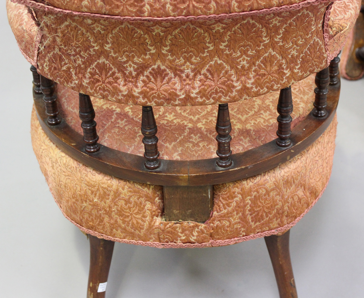 A pair of late Victorian walnut framed tub back salon armchairs, height 73cm, width 60cm, depth - Image 3 of 9