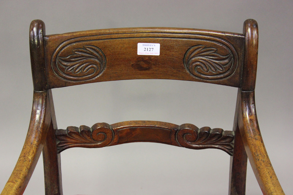 A Regency mahogany bar back elbow chair with carved back and red velour padded seat, height 82cm, - Image 4 of 4