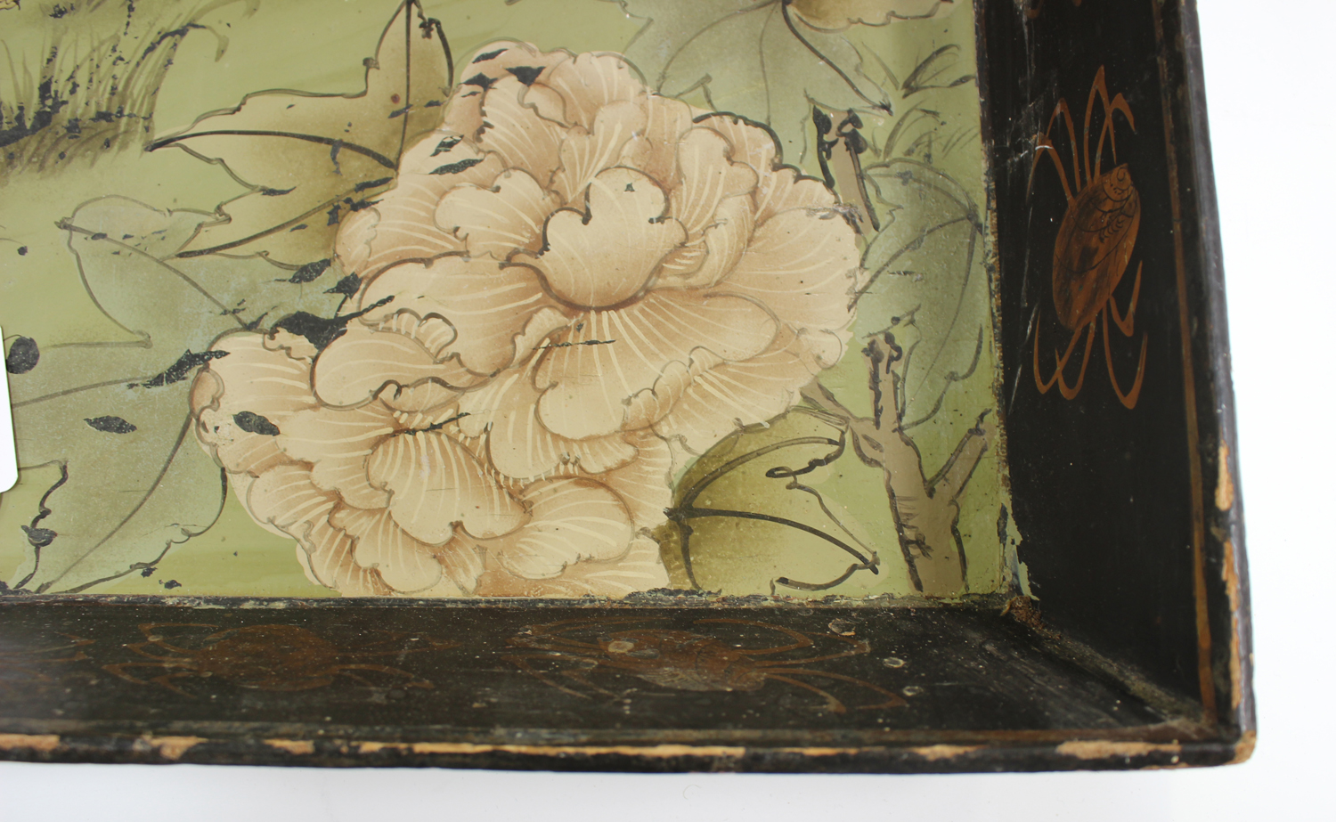 An early 20th century Chinese lacquered gallery tray, painted with ducks at a lakeside, width 54cm. - Image 3 of 7