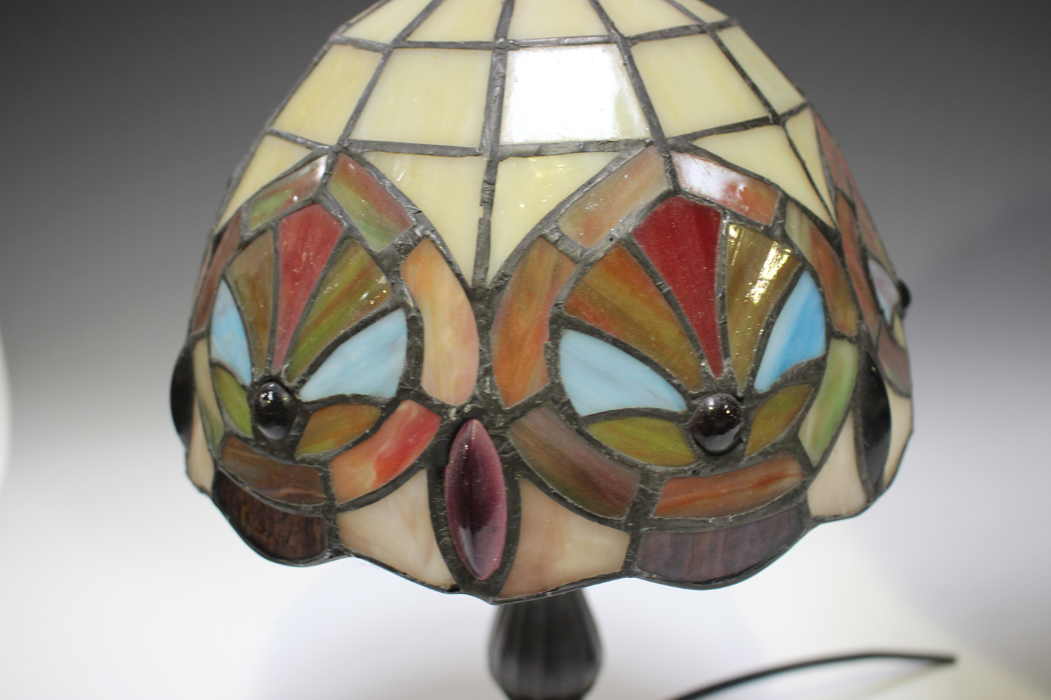 A modern Tiffany style table lamp with a stained and leaded glass domed shade, height 53cm, together - Image 3 of 8