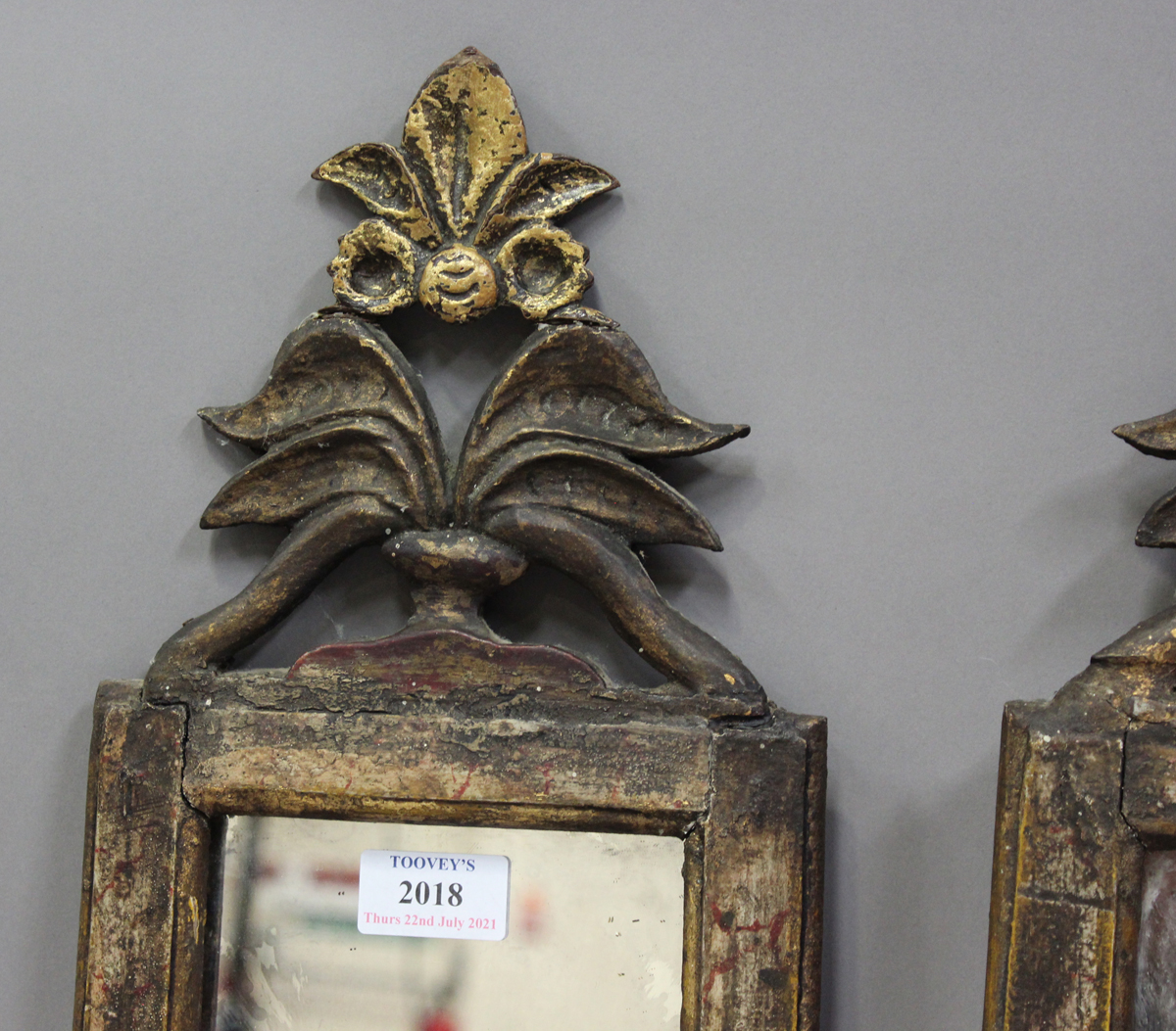 A pair of Italian gilt and simulated marble pier mirrors, probably 18th century, each narrow frame - Image 4 of 7