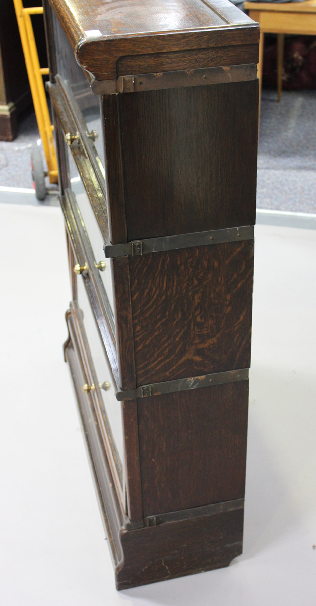 An early 20th century oak Globe Wernicke three-section glazed bookcase, height 115cm, width 86cm, - Image 3 of 6