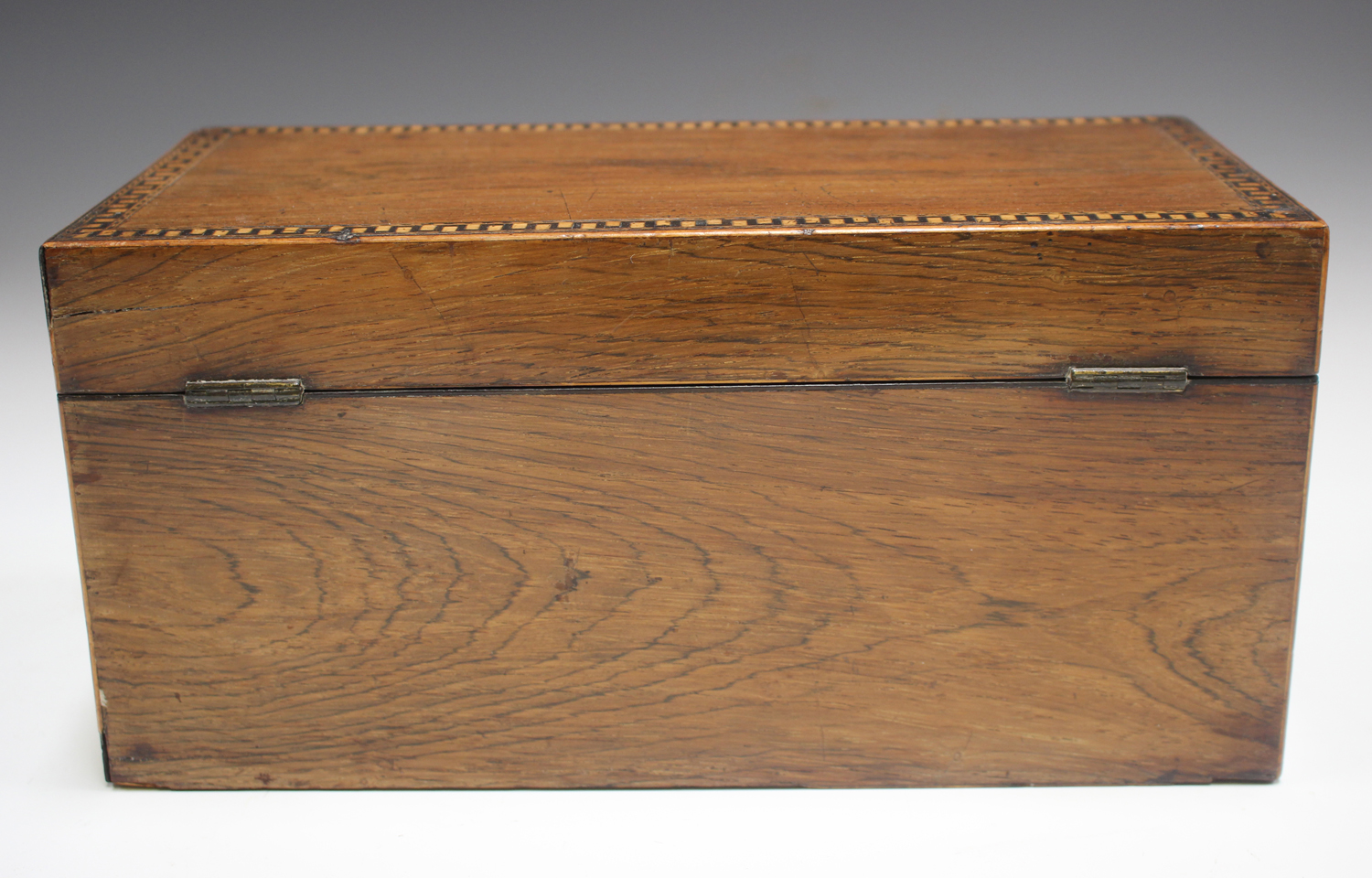 A George III rosewood tea caddy with inlaid running scroll borders and applied gilt metal phoenix - Image 6 of 10