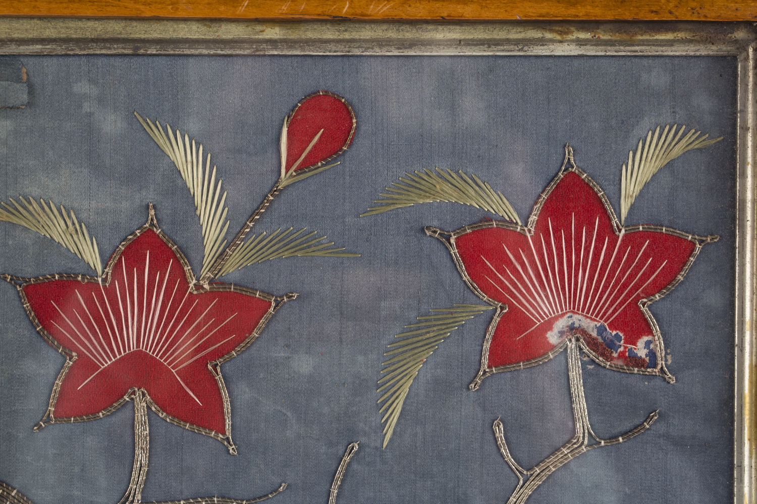 A near pair of late 19th century Japanese silk and metal thread stumpwork panels, both depicting - Image 19 of 31