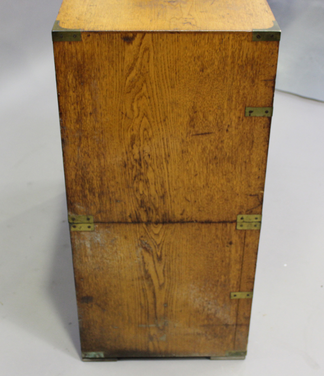 A late 19th century oak and brass bound campaign chest of two short and three long drawers, height - Image 3 of 7