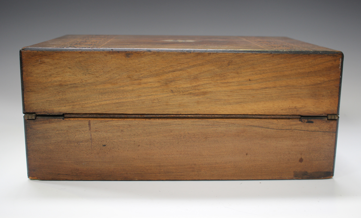 A late Victorian walnut writing slope inlaid with geometric bands, width 35cm.Buyer's Premium 29. - Image 5 of 8