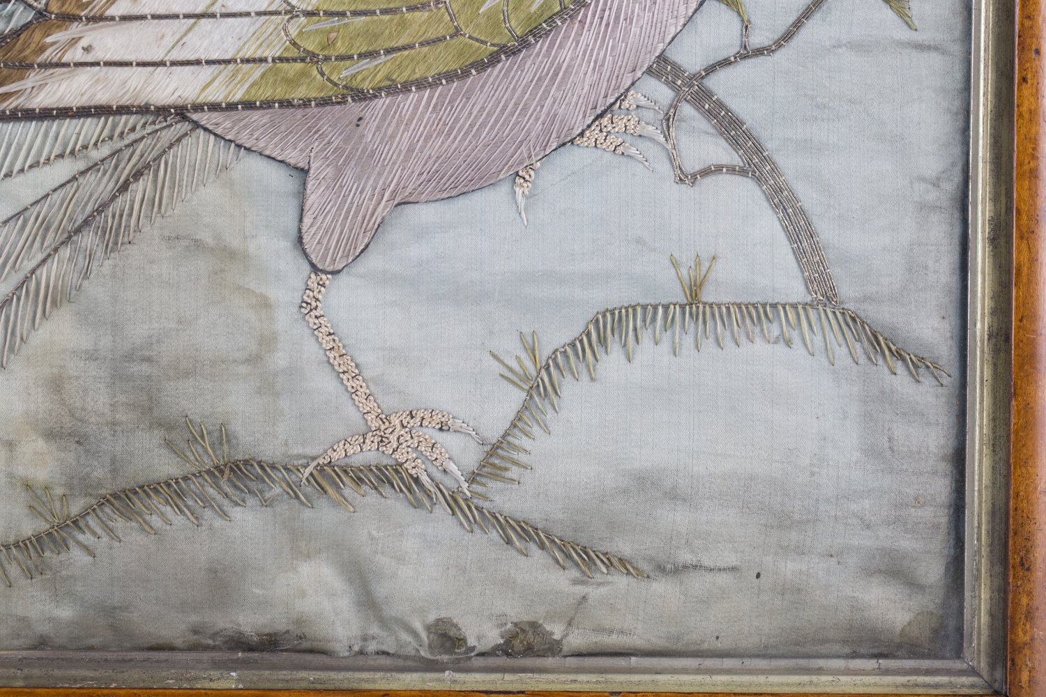 A near pair of late 19th century Japanese silk and metal thread stumpwork panels, both depicting - Image 25 of 31