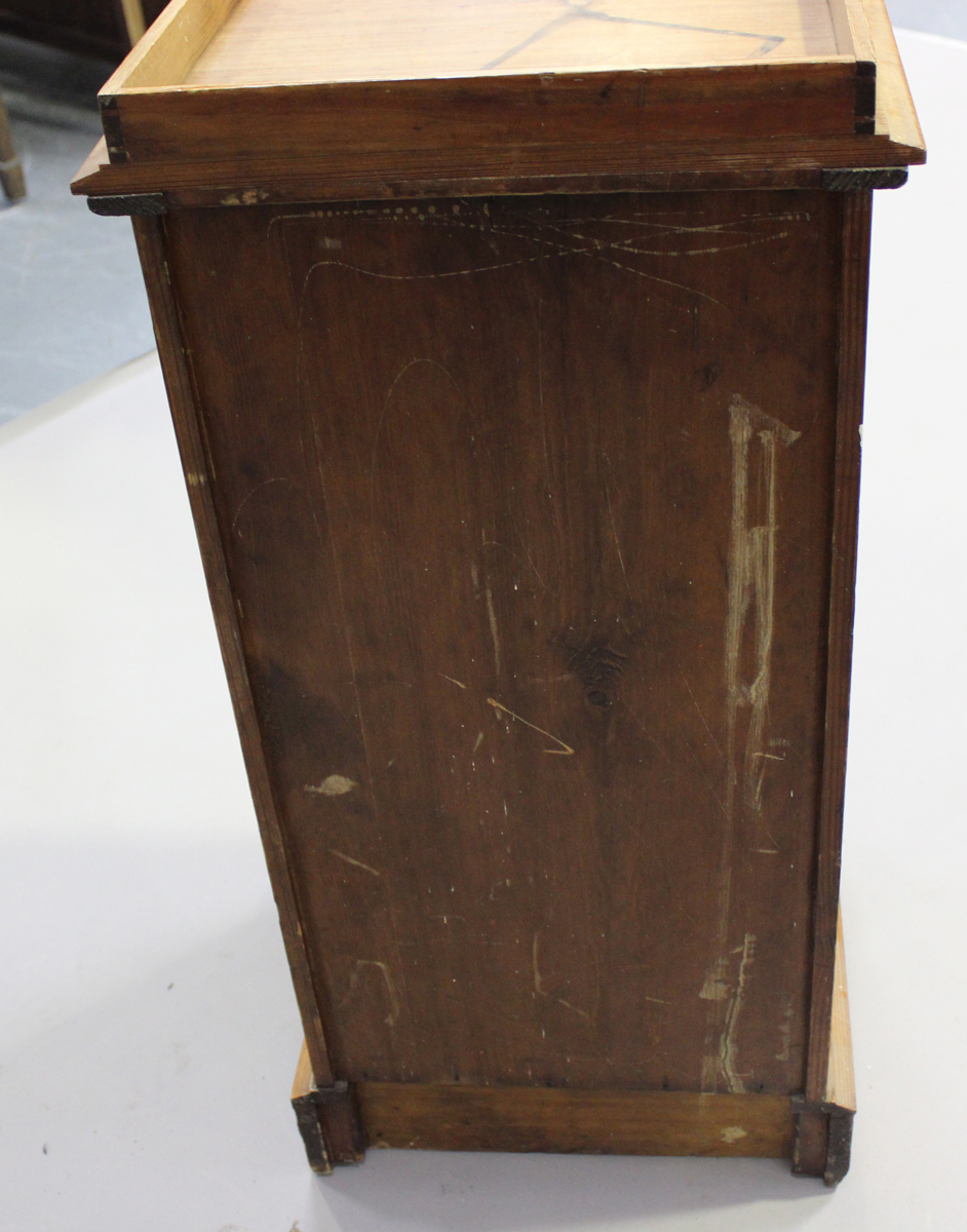 An early 20th century pitch pine bedside cupboard, height 83cm, width 39cm, depth 38cm.Buyer's - Image 2 of 6