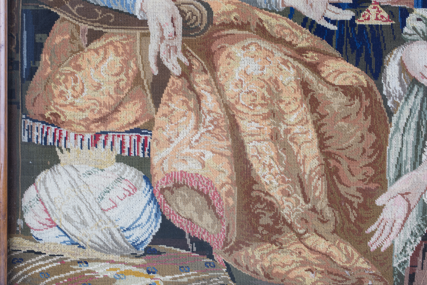 A Victorian Berlin woolwork panel depicting a seated king and two ladies, 75cm x 66cm, within a - Image 5 of 13