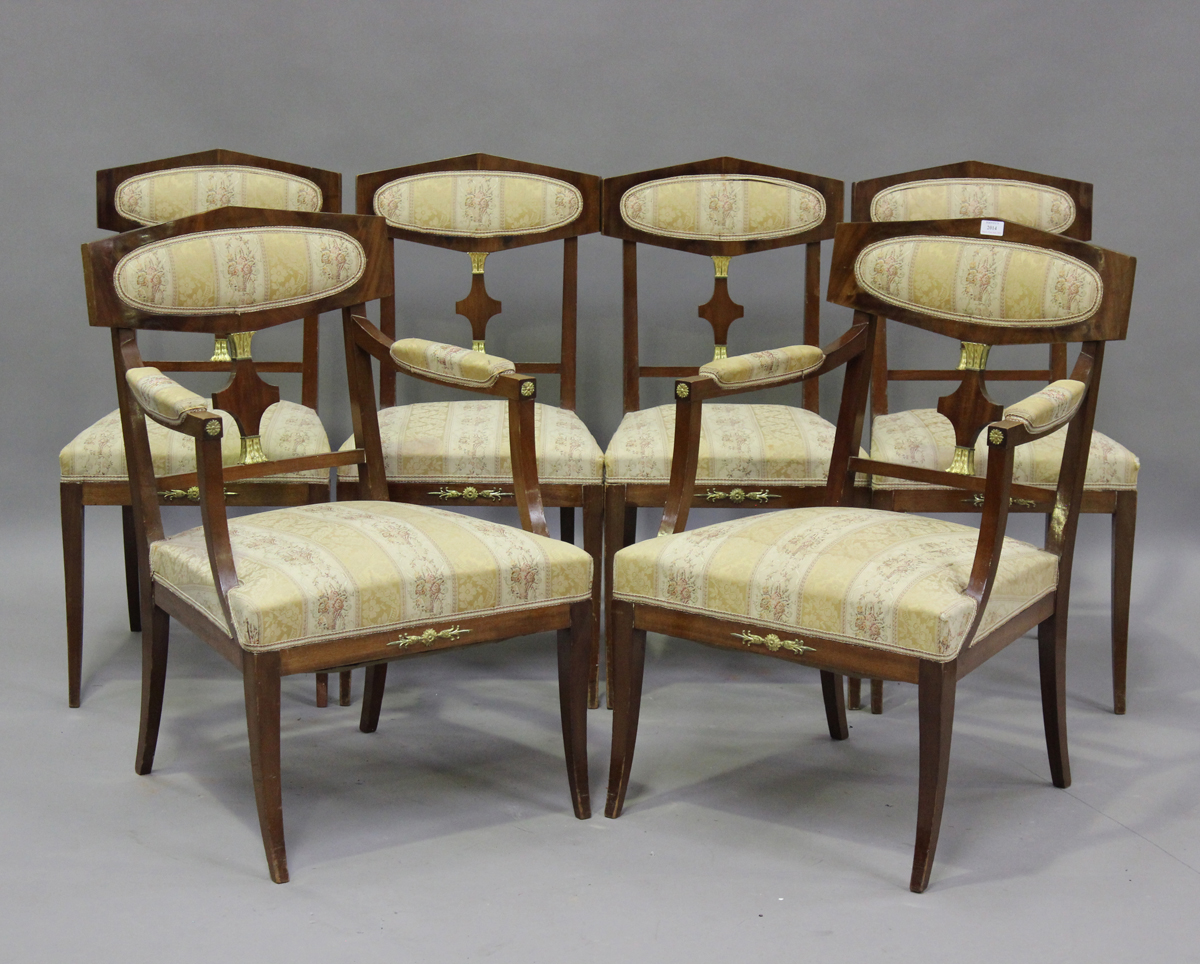 A 20th century Empire style mahogany six-piece salon suite, comprising a pair of armchairs, height