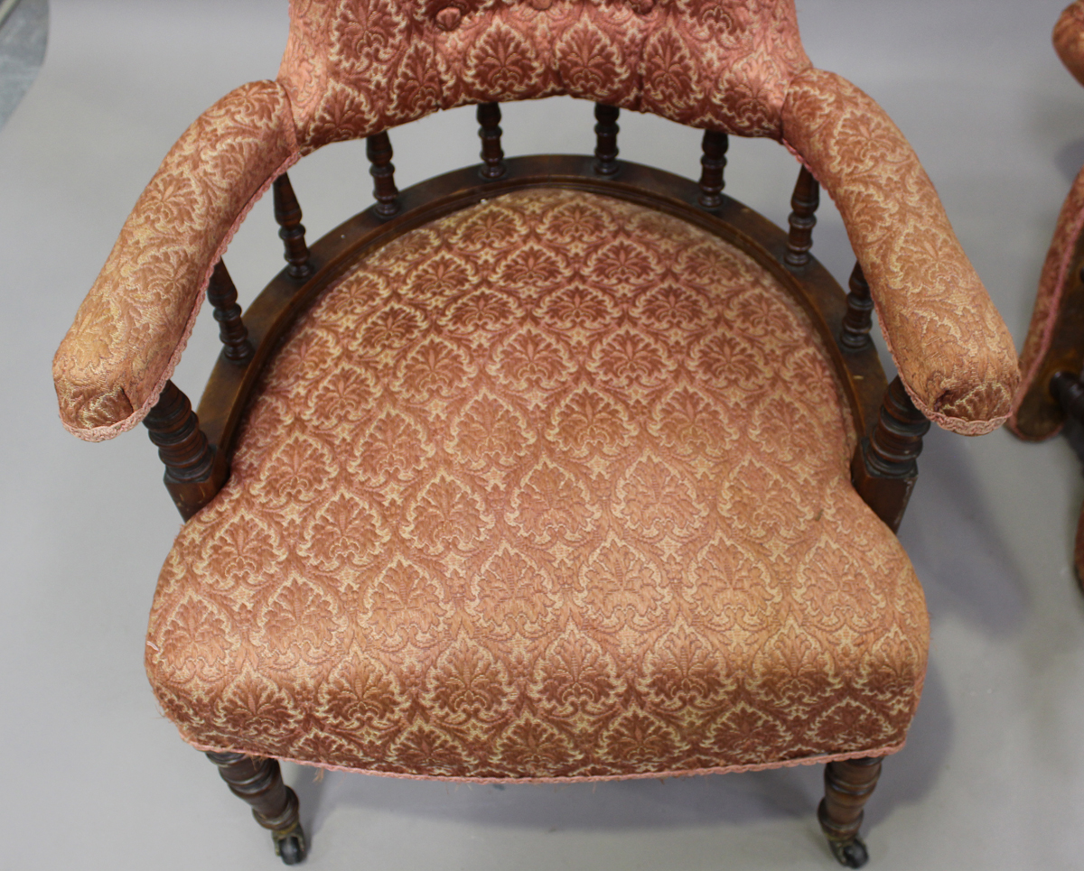 A pair of late Victorian walnut framed tub back salon armchairs, height 73cm, width 60cm, depth - Image 4 of 9
