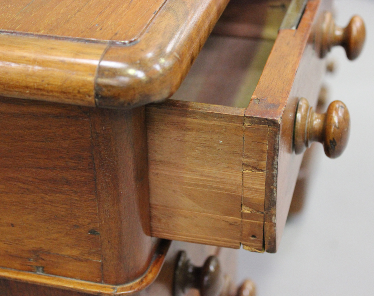 A late Victorian walnut twin pedestal desk, fitted with an arrangement of drawers, on plinth - Image 2 of 5