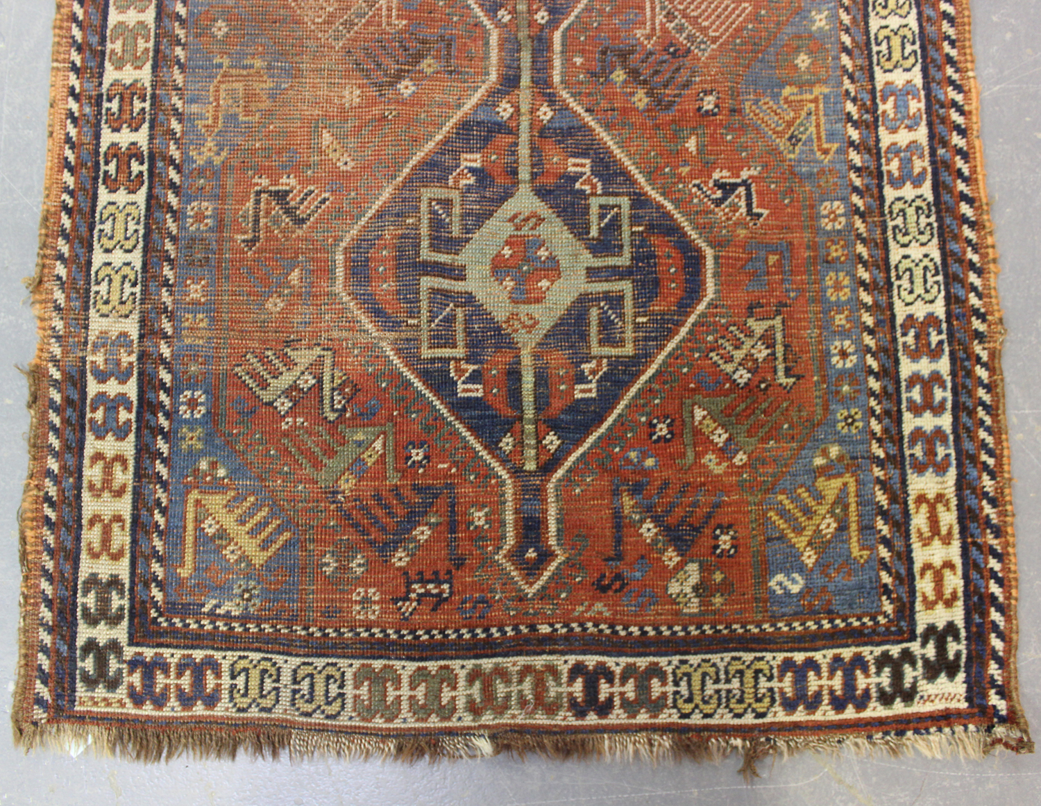 A Kamseh rug, South-west Persia, late 19th/early 20th century, the terracotta field with a pair of - Image 3 of 5