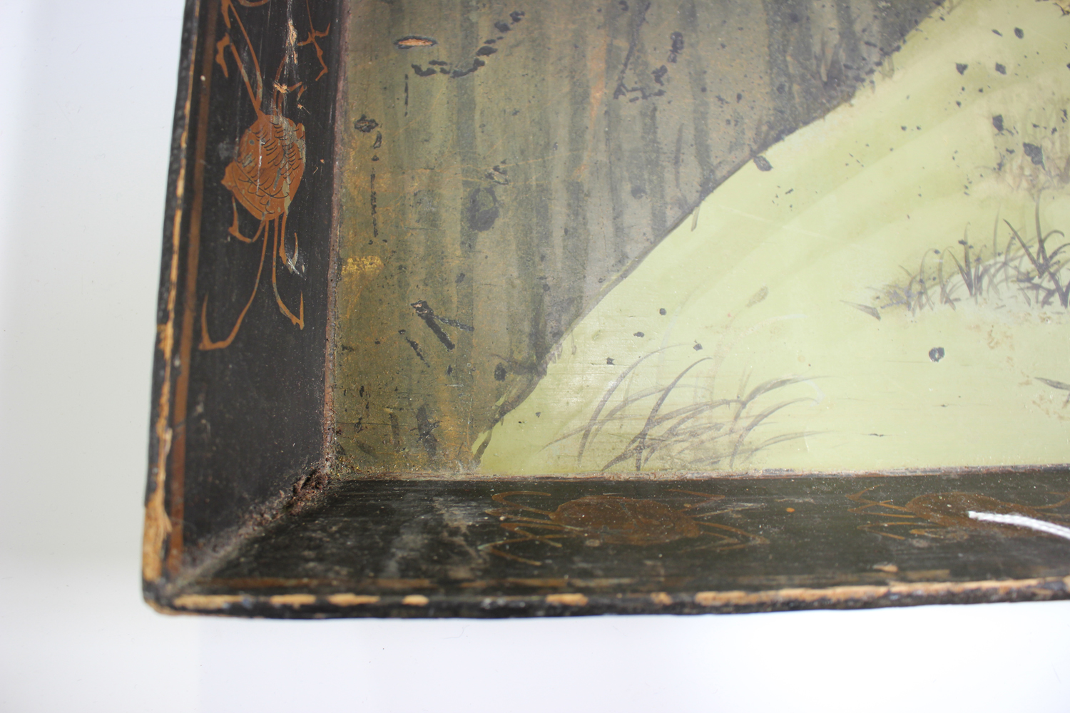 An early 20th century Chinese lacquered gallery tray, painted with ducks at a lakeside, width 54cm. - Image 2 of 7