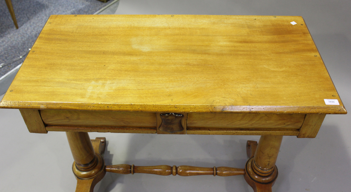 A late Victorian walnut side table, fitted with two frieze drawers, on turned supports, height 80cm, - Image 4 of 4