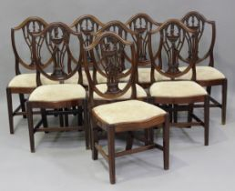 A set of ten 20th century George III style mahogany dining chairs, comprising two carvers and