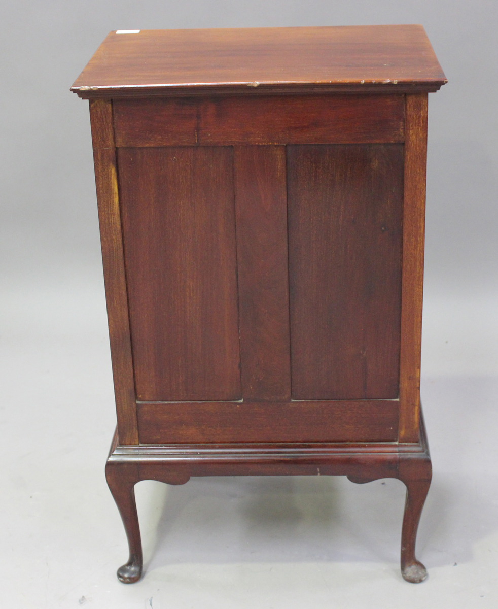 An Edwardian mahogany and satinwood crossbanded music chest, fitted with six drop-front drawers, - Image 5 of 6