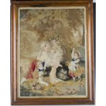 A Victorian Berlin woolwork panel depicting a family beneath a tree, 78cm x 57cm, within a