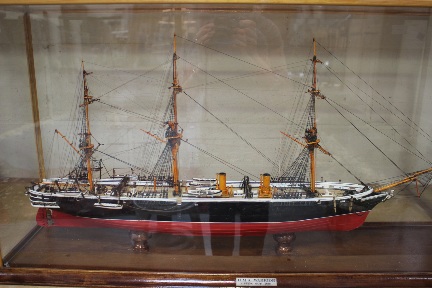 A modern 1:192 scale model of HMS Warrior, length 80cm, within a case.Buyer's Premium 29.4% ( - Image 3 of 3