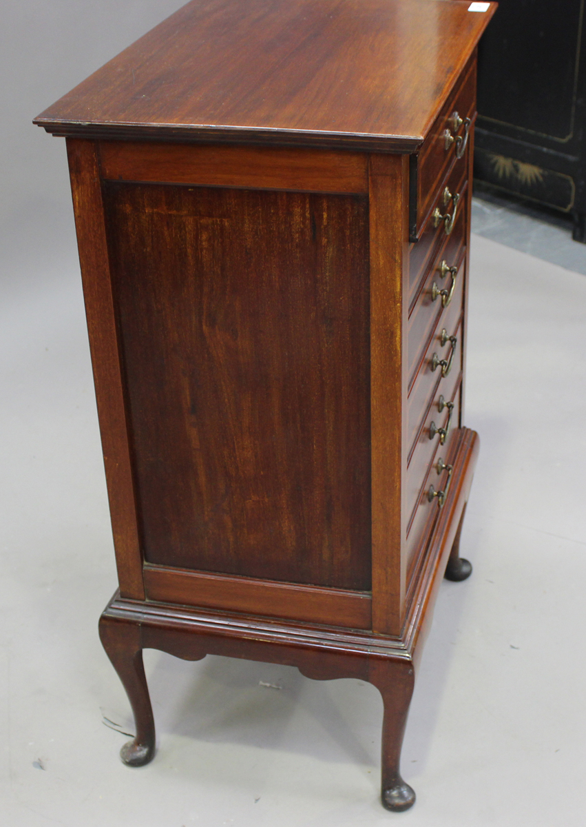 An Edwardian mahogany and satinwood crossbanded music chest, fitted with six drop-front drawers, - Image 3 of 6