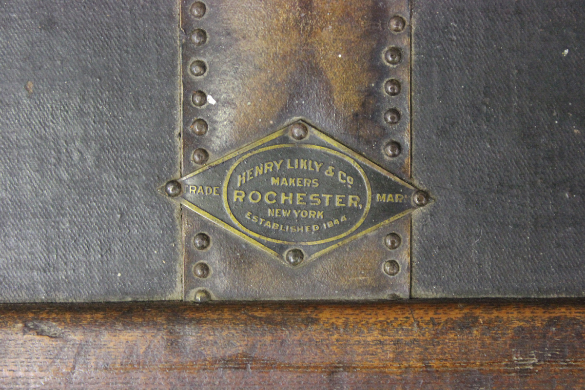 A late 19th century American brass bound travelling trunk by Henry Likly & Co, Rochester, New - Image 5 of 7