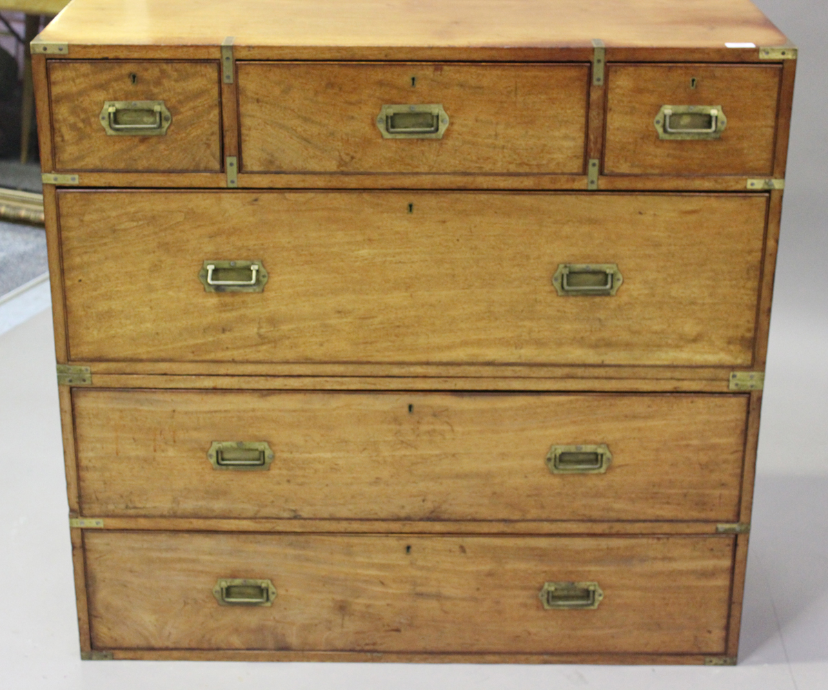 A late 19th century mahogany and brass bound campaign chest of three short and three long drawers, - Image 7 of 7