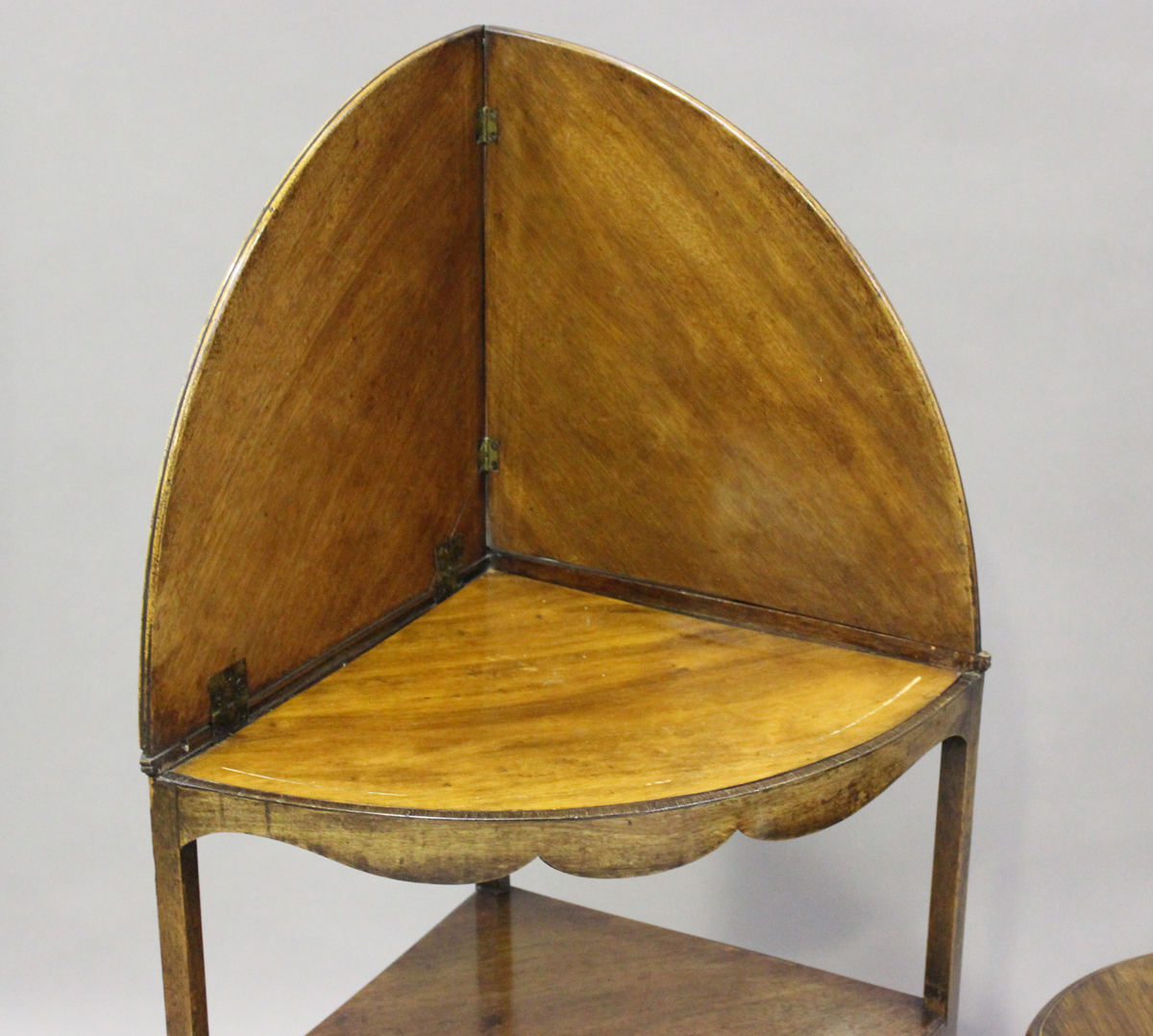 A George III mahogany corner washstand, height 88cm, width 77cm, depth 43cm, together with a pair of - Image 2 of 4
