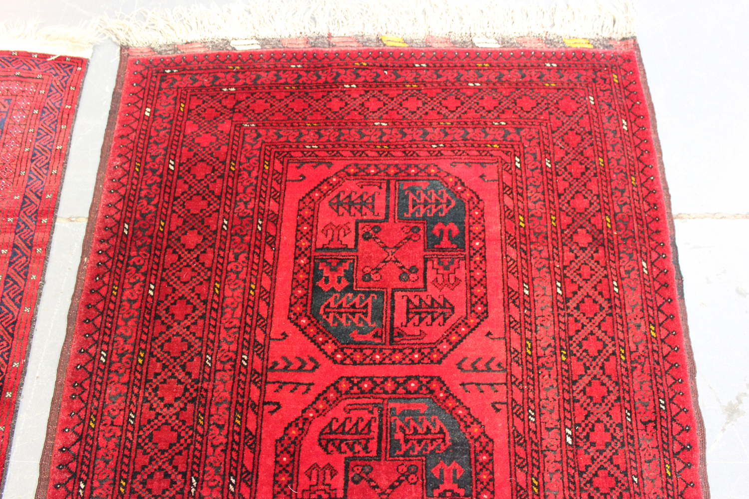 A small Afghan rug, late 20th century, 160cm x 102cm, together with another similar Afghan rug, - Image 3 of 4