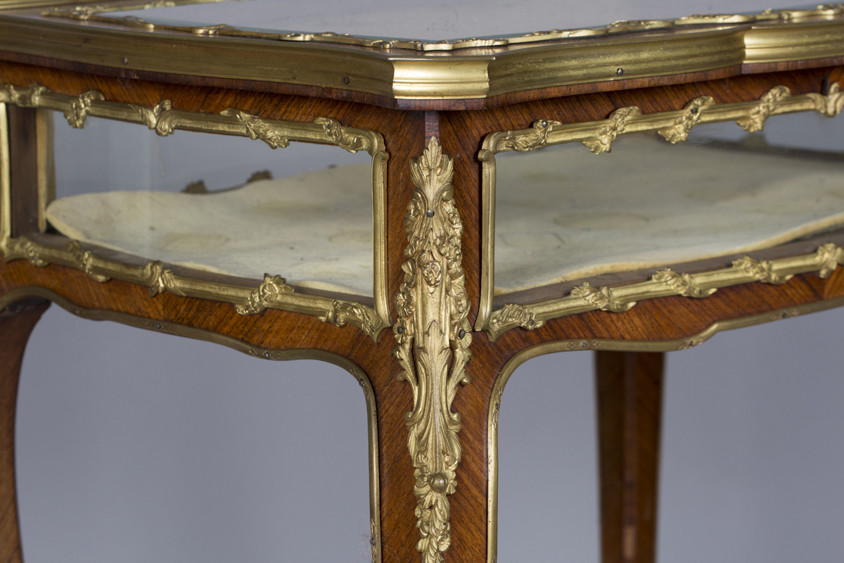 A good late 19th century Louis XV style kingwood bijouterie table with applied ormolu mounts, the - Image 9 of 9