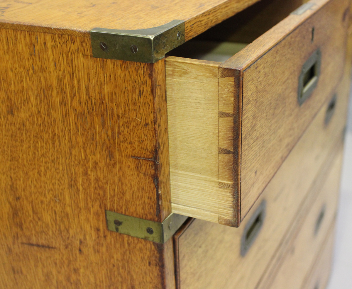 A late 19th century oak and brass bound campaign chest of two short and three long drawers, height - Image 2 of 7