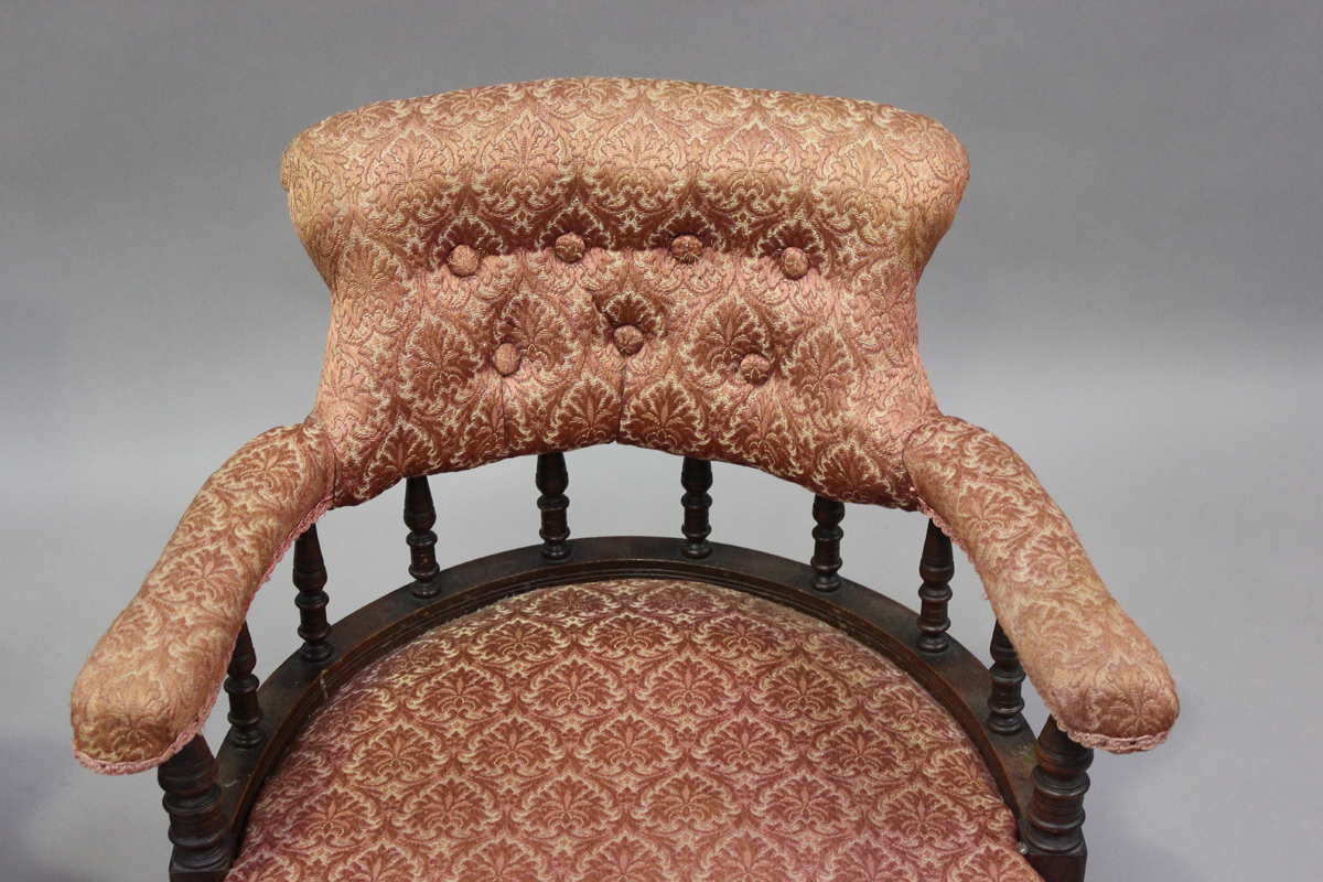A pair of late Victorian walnut framed tub back salon armchairs, height 73cm, width 60cm, depth - Image 9 of 9