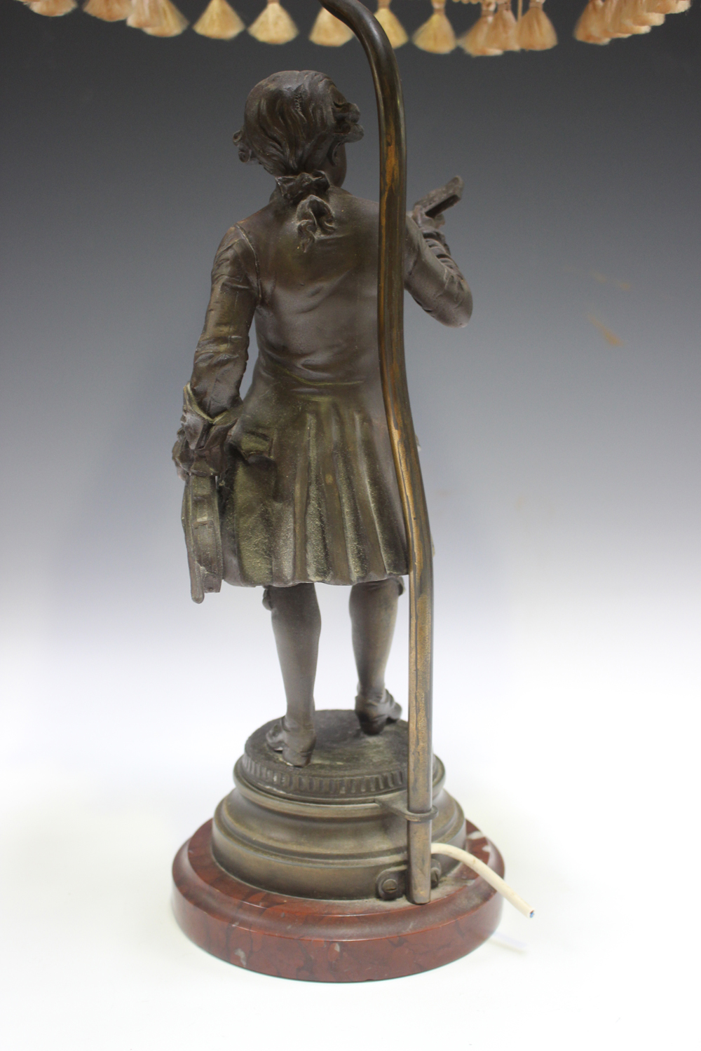 An early 20th century French cast spelter figural table lamp, modelled after Emile Bruchon as the - Image 2 of 4