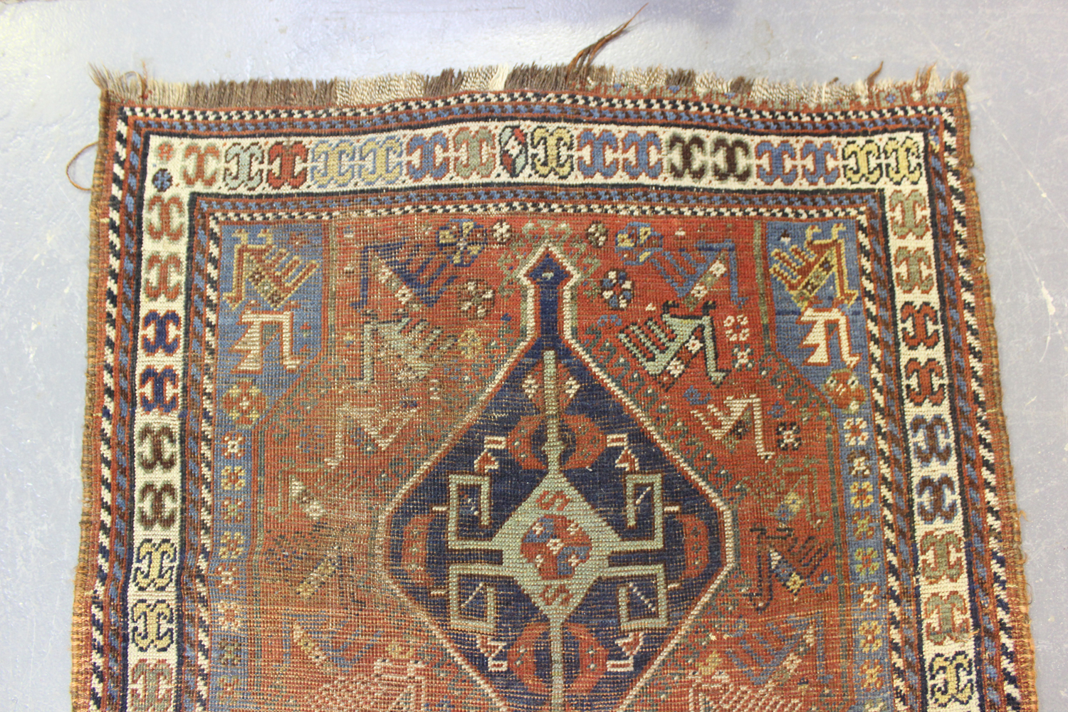 A Kamseh rug, South-west Persia, late 19th/early 20th century, the terracotta field with a pair of - Image 2 of 5