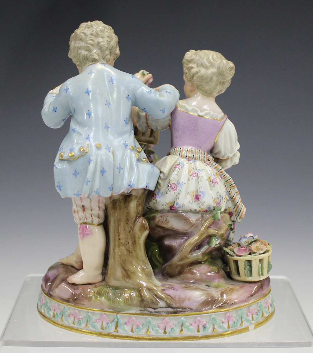 A Meissen figure group emblematic of Spring, late 19th century, modelled after Schönheit as a boy - Image 4 of 5