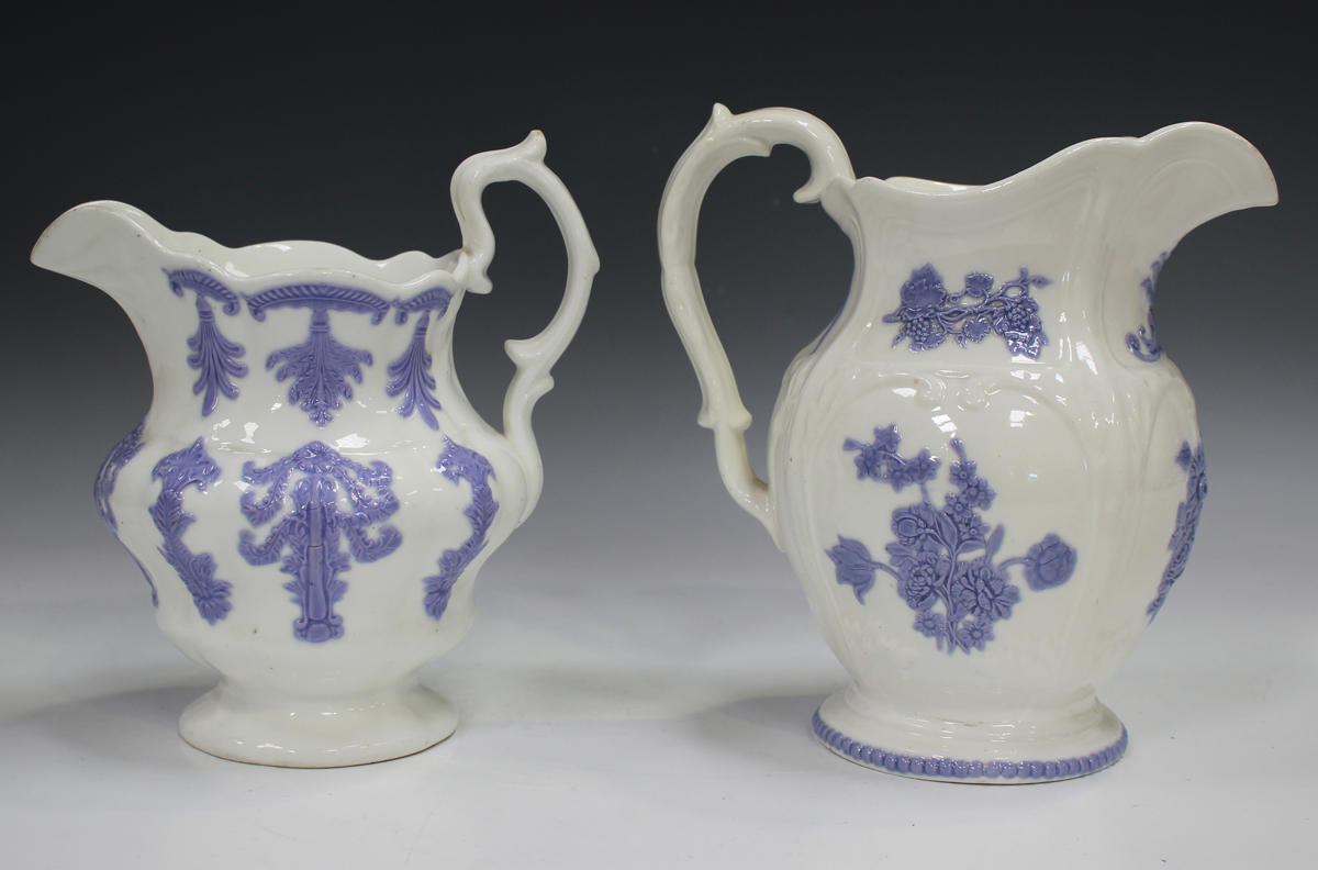 A large pearlware mottled pink lustre decorated mug, circa 1820, height 11.5cm, together with two - Image 10 of 13