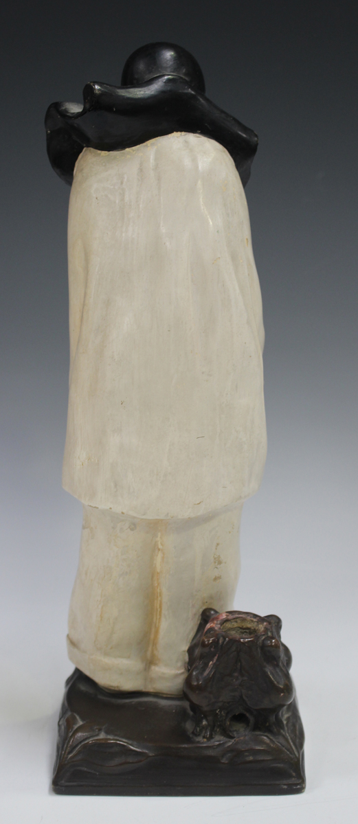 An Italian pottery figural lamp base, 20th century, inspired by a design by Roland Paris, modelled - Image 7 of 9