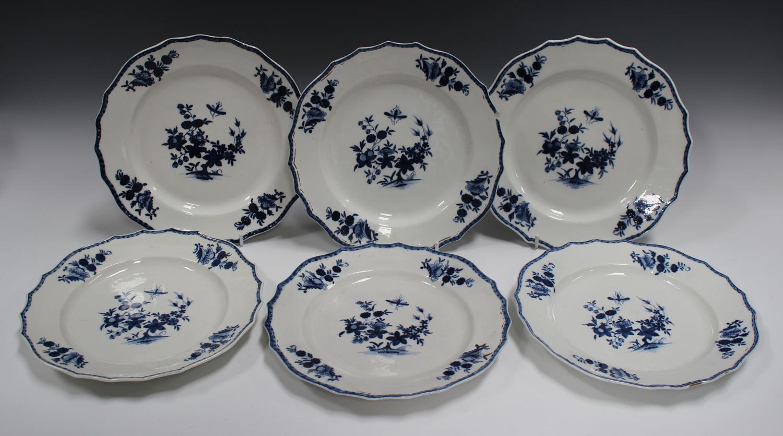 A set of six Tournai porcelain blue and white porcelain plates, second half 18th century, each