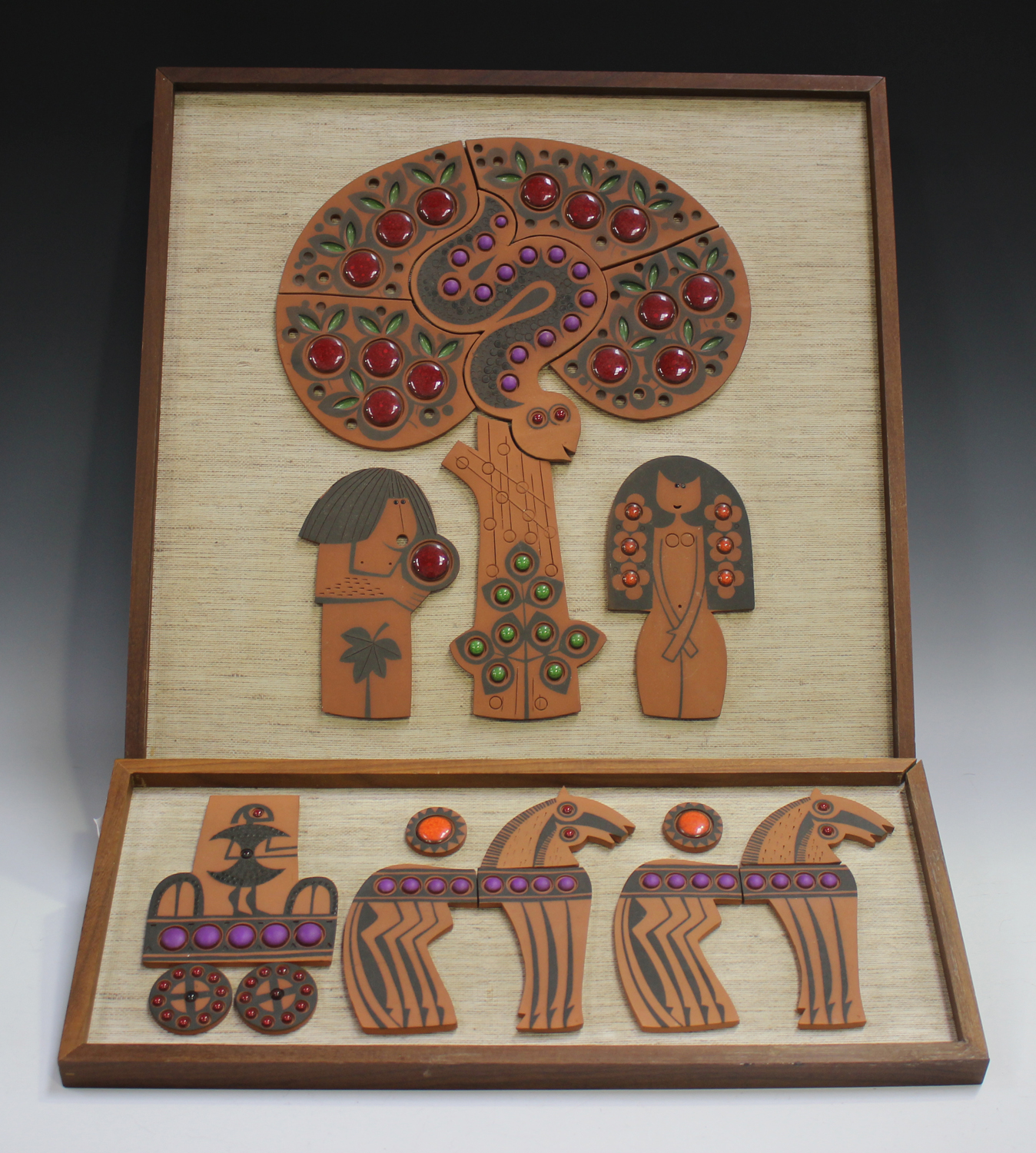 Two Hornsea Muramic wall plaques, circa 1960/70s, designed by John Clappison, depicting Adam and Eve