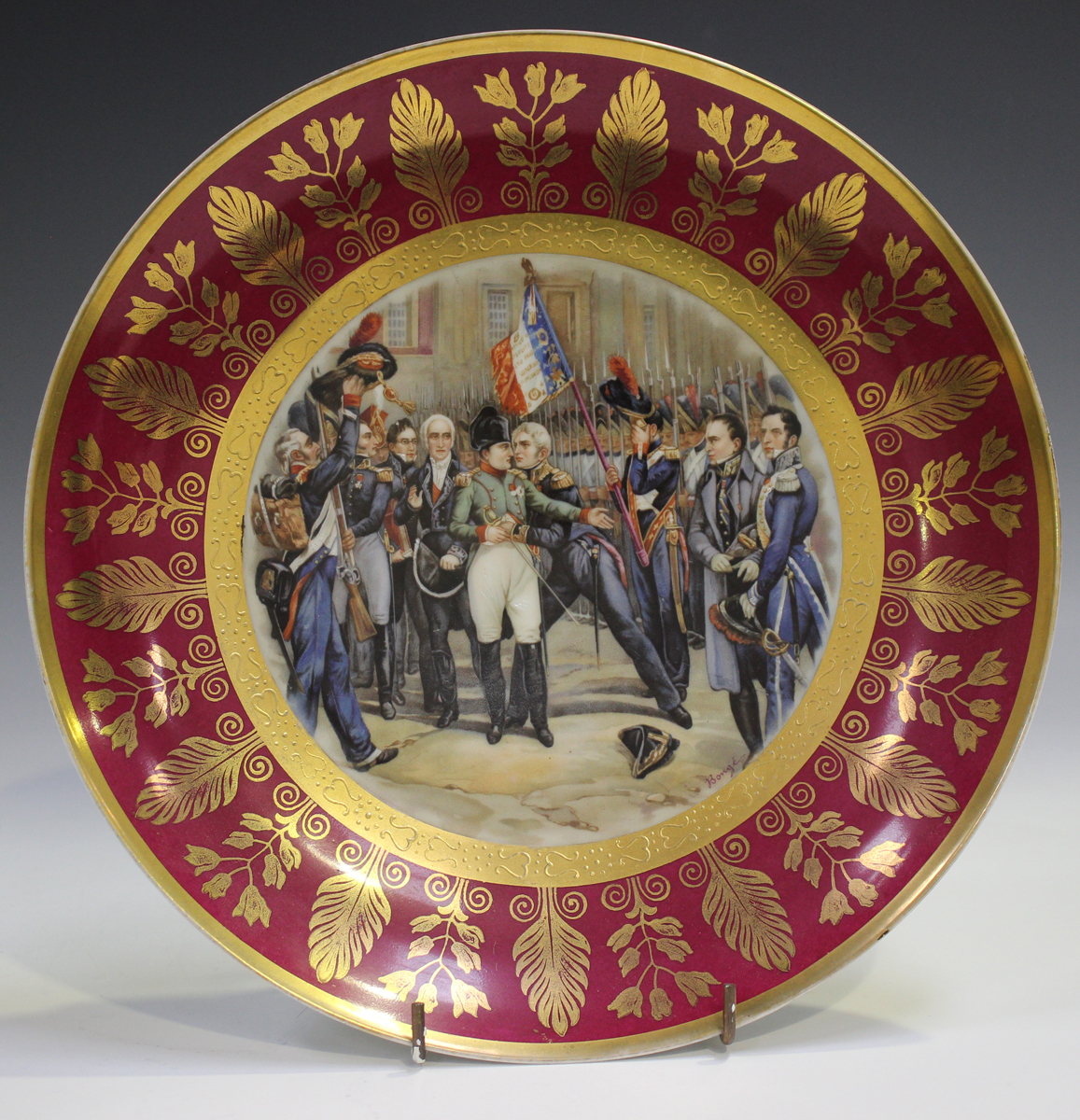 A gilt metal mounted porcelain tazza, late 19th/early 20th century, the apricot rimmed dish with - Image 4 of 10