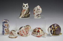 Seven Royal Crown Derby Imari palette animal paperweights, comprising Turtle, Beaver, Squirrel,