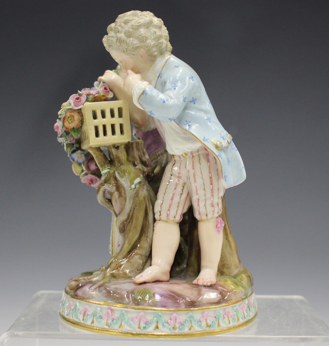A Meissen figure group emblematic of Spring, late 19th century, modelled after Schönheit as a boy - Image 5 of 5