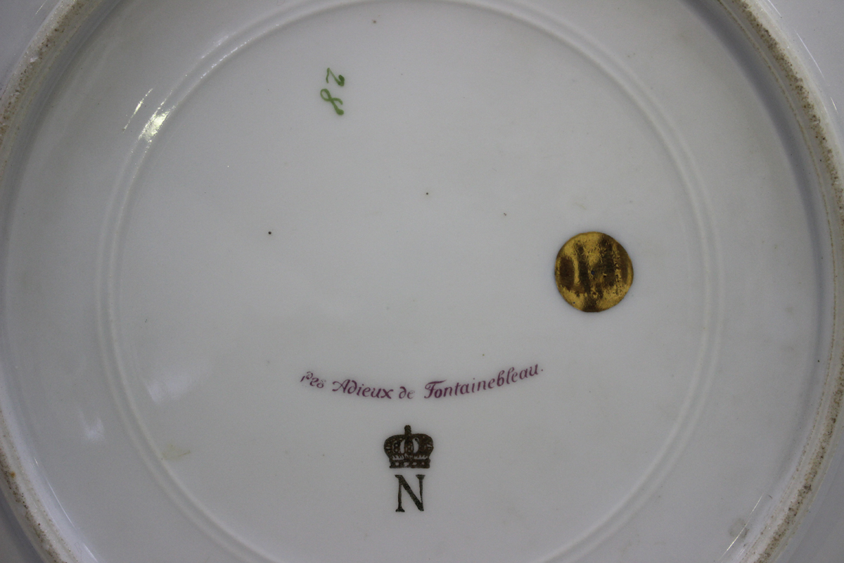 A gilt metal mounted porcelain tazza, late 19th/early 20th century, the apricot rimmed dish with - Image 2 of 10