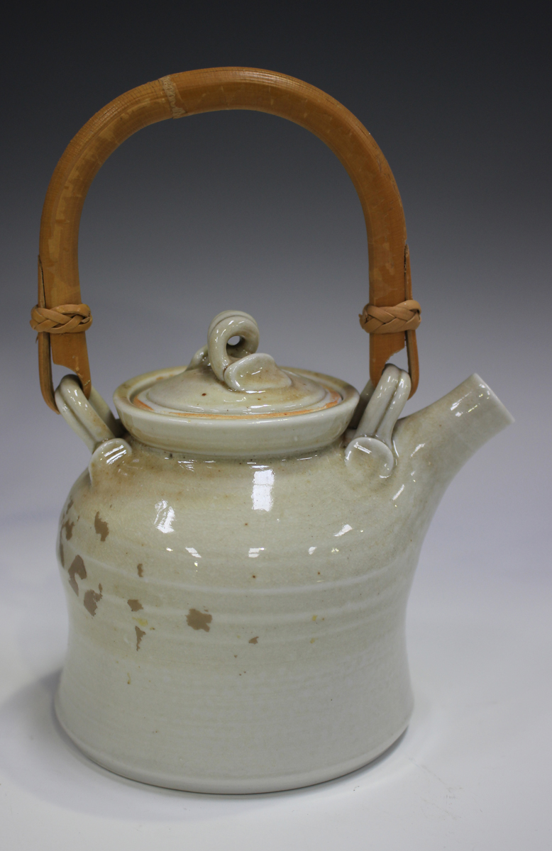 Four pieces of Jane Hamlyn studio pottery, including a salt glazed teapot, height 16cm, and a - Image 2 of 5