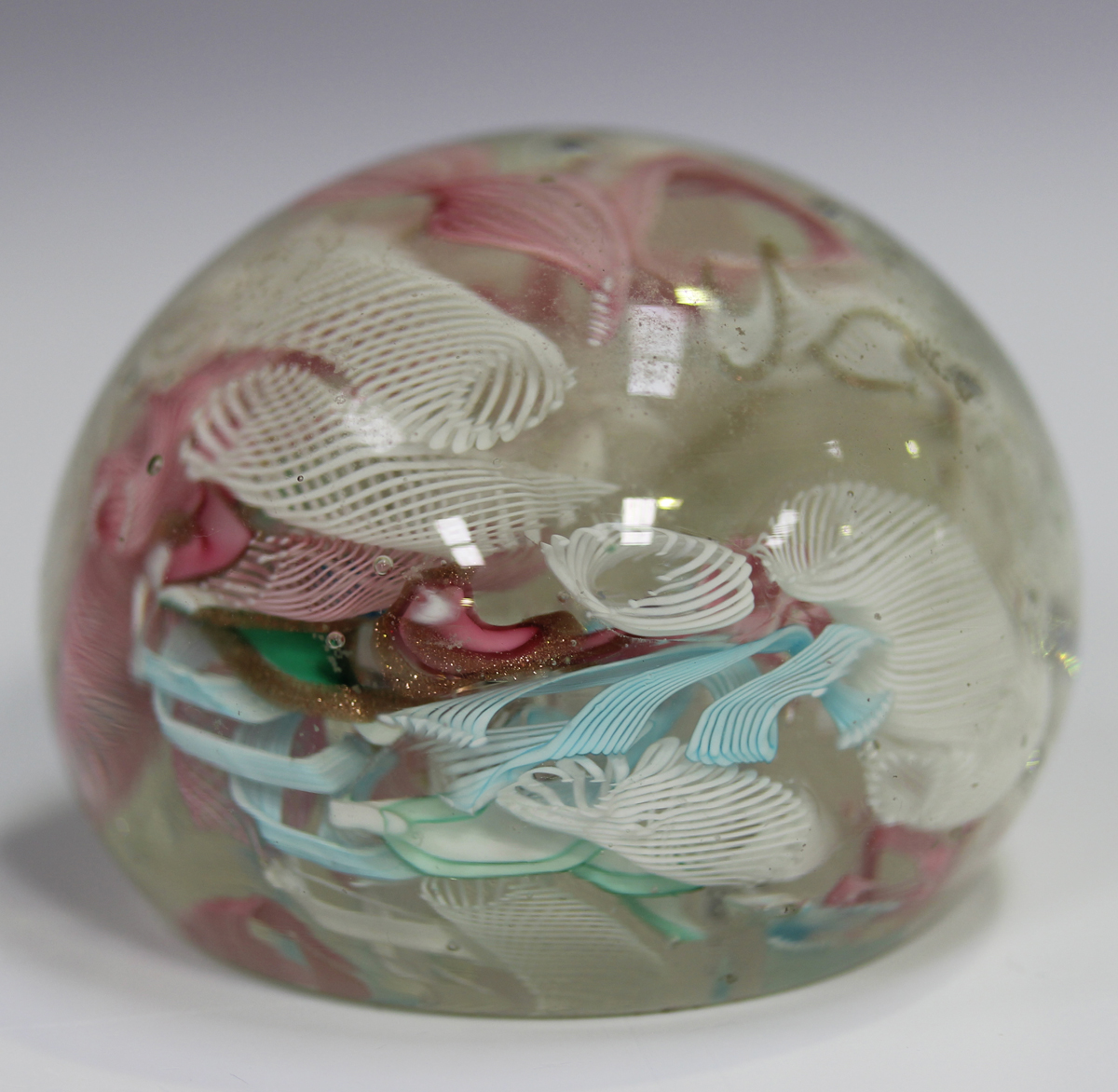 An unusual French paperweight, mid to late 19th century, possibly St Louis, arranged with six - Image 3 of 8